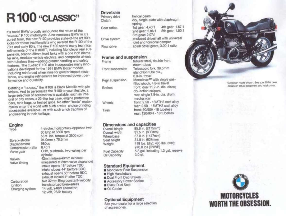 1991 BMW R100RT Mono pics specs and information  onlymotorbikescom