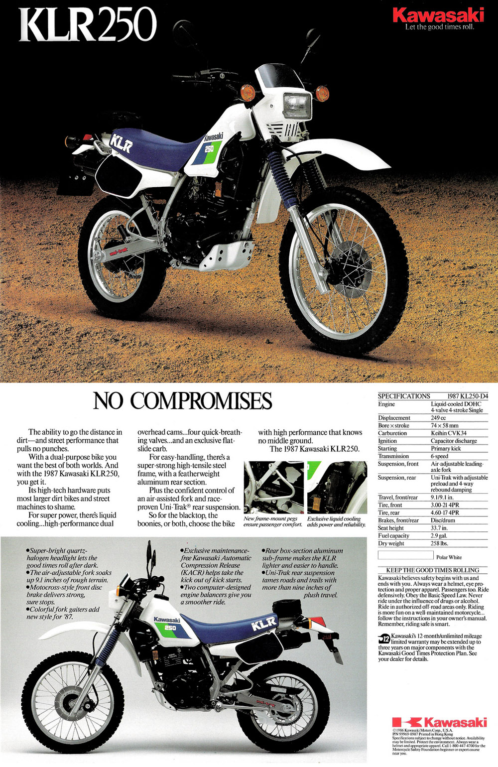 1996 Kawasaki KLR 250: pics, specs and information